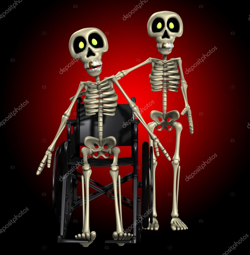 A well skeleton helping out one that is disabled.  Stockfoto #12198303