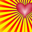 Love heart With Red And Yellow Rays — Stock Photo