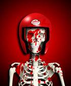 Bloody Skeleton In Protective Helmet — Stock Photo