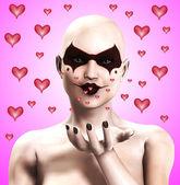 Clown Women Sending Out Hearts — Stock Photo