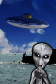 UFO With Angry Alien — Stock Photo