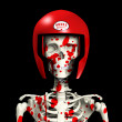 Bloody Skeleton In Protective Helmet — Foto Stock