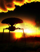 Alien Tripod Against Abstract Clouds — Stock Photo