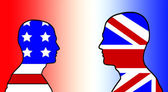 American And UK Flag Heads — Stock Photo