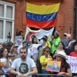 Protesters outside JuliAssange protest outside EcuadoriEmbassy — Stock Photo #23287856