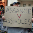 ������, ������: Rude protester outside the Julian Assange protest outside the Ecuadorian Embassy