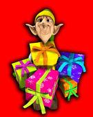 Elf holding presents — Stock Photo