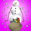 Snowman With A Sack Of Gifts — Stock Photo
