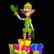 Elf With Presents — Stock Photo