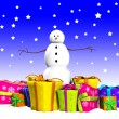 Stock Photo: SnowmWith Gifts