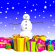 Snowman With Gifts — Stock Photo