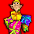 Elf Holding Presents — Stock Photo