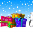 Stock Photo: SnowmWith Some Big Presents