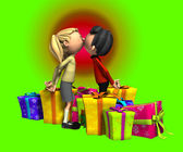 Kissing With Presents — Stock Photo