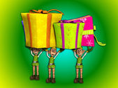 Elves Carrying Large Presents — Stockfoto