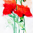 Aquarell: Red Flowers - Stock Photo