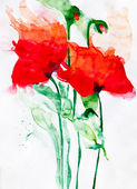 Aquarell: Red Flowers — Stock Photo