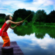 Stock Photo: Girl goes fishing