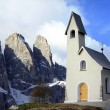 Passo Gardena - mountain chapel — Stock Photo