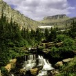 Waterfall at Lunch Creek, Glacier National Park — Stock Photo