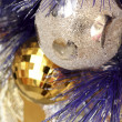 Background made of christmas balls and tinsel — Stock Photo