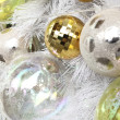 Background made of christmas balls and tinsel — Stock Photo #14587147