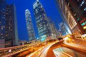 Modern Urban City with Freeway Traffic at Night, hong kong — Stock Photo