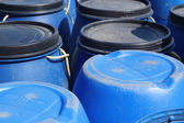 Blue plastic 200 litre barrel — Stock Photo