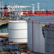 Oil tanks and ship at day — Stock Photo