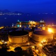 Oil tanks at night — Stock Photo