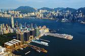 Aerial view of Hong Kong harbor — Stock Photo