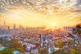 Hong Kong modern city at sunset — Stock Photo