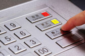 Entering personal identification number on ATM — Stock Photo