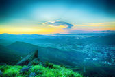 Hong kong sunrise on mountain — Stock Photo