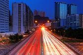 Traffic light trails at night — Stock Photo