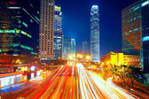 Lights of cars motion blurred in hong kong — Stock Photo