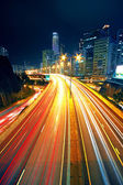 Night traffic on busy city highway — Stock Photo