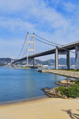 Hong kong bridge, Tsing Ma Bridge — Stock Photo