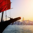 Sailboat tourist junk sailing in Victoria Harbour — Stock Photo #40161365