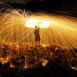 Stock Photo: Burning steel wool fireworks