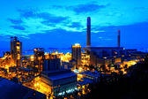 Gas storage spheres tank in petrochemical plant in sunset — Stock Photo