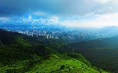 日没、香港の地区 — ストック写真