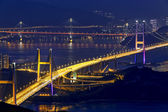 Tsing ma bridge at night, Hong Kong Landmark — Stock Photo