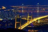 Tsing ma bridge at night, Hong Kong Landmark — Stock Photo