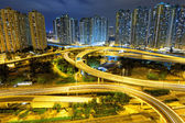City overpass at night, HongKong — Stock Photo