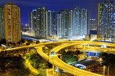 City overpass at night, HongKong — Stockfoto