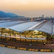 Hong kong international airport sunset — Stock Photo