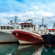 Three Fishing Boats in Garrucha Harbor - Stock Photo