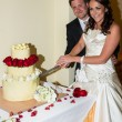 Bride and Groom at the reception — Stock Photo
