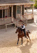 Sheriff riding his horse at full gallop Mini Hollywood — Stock Photo